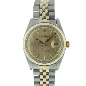 Rolex 1601 Datejust Two Tone Stainless Steel 14k Yellow Gold Watch