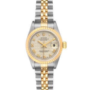 Rolex Datejust Steel Yellow Gold Ivory Pyramid Dial Ladies Watch 69173