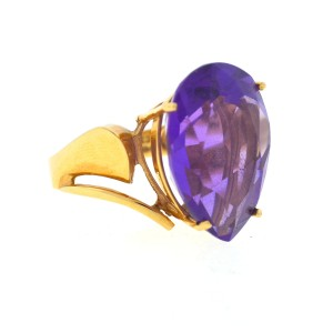 14K Yellow Gold Amethyst and Diamond Ring Size 7