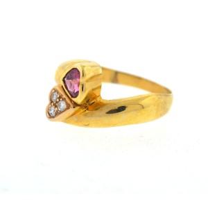 14K Yellow Gold Tourmaline Diamond Ring Size 7.25