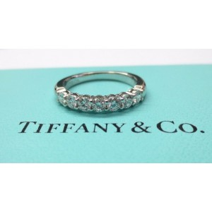 Tiffany & Co. 950 Platinum .56ct. Diamond Shared Setting Wedding Band Ring 7