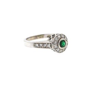 White White Gold Emerald, Diamond Womens Ring