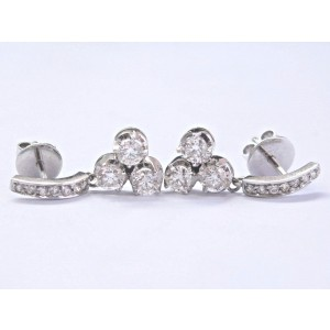 White White Gold Diamond Womens Earrings