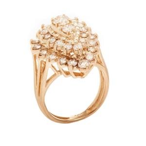 14K Yellow Gold 2.25Ct G SI1 Diamond Tear Drop Ring 8 Gr Size 6