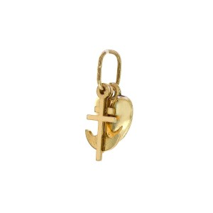 14K Yellow Gold Love Hope & Charity Charm Pendant