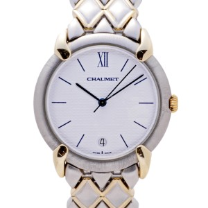 Chaumet Or-Acier 205476 Two Tone Stainless Steel and 18K Yellow Gold White Dial Quartz 32mm Mens Watch