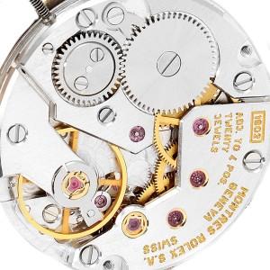 Rolex Cellini 18k White Gold Black Strap Mens Vintage Watch 4087