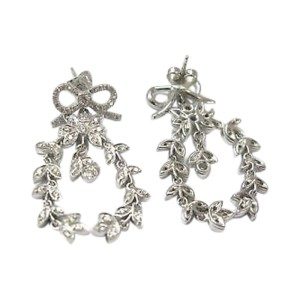 Vera Wang 18K White Gold with Diamond Ribbon Drop Earrings
