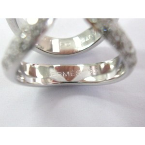 Hermes 18K White Gold with 1.80ct Diamond Lima Pave Ring Size 7