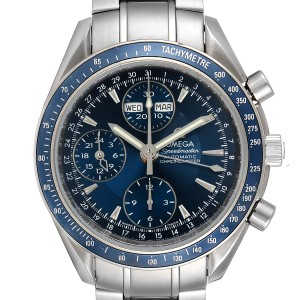 Omega Speedmaster Day Date Blue Dial Chronograph Watch 3222.80.00 Box Papers