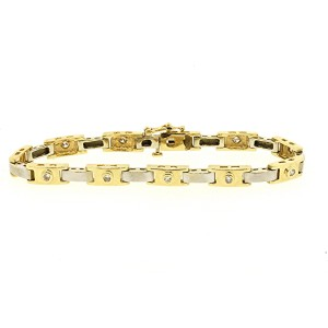 LeVian 14K Yellow and White Gold with 0.56ct Diamond Link Tennis Bracelet