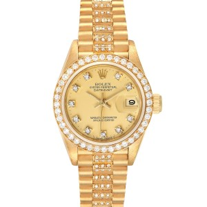 Rolex President Datejust Yellow Gold Diamond Ladies Watch 69138