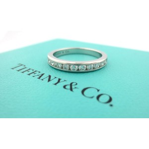 Tiffany & Co. 950 Platinum with 0.33ctw Diamond Eternity Wedding Band Ring Size 7.5