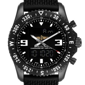 Breitling Chronospace Military GMT Alarm Blacksteel Watch M78367