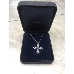 Tiffany & Co Platinum with 0.46ct. Diamond Open Cross Pendant Necklace