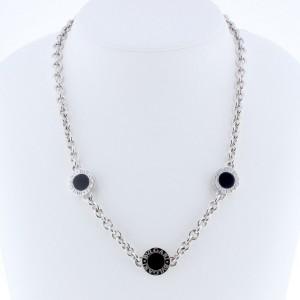 Bulgari 18K White Gold with Onyx Necklace