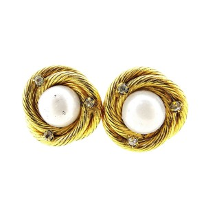 Chanel Gold Tone Hardware with Simulated Glass Pearl and Stone Earrings