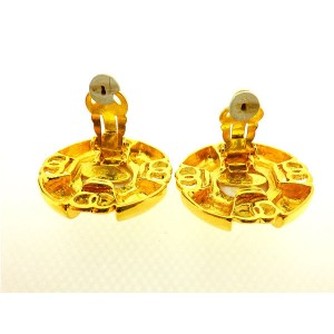 Chanel Gold Tone Hardware with Glass Simulated Pearl Earrings