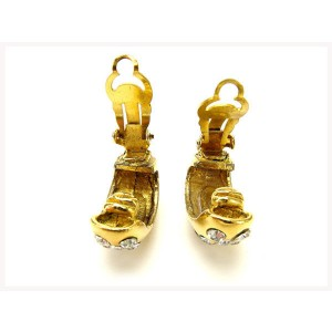 Chanel Gold Tone Hardware with Rhinestone Earrings