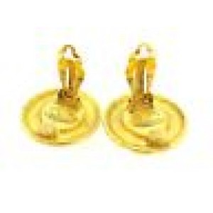 Chanel Gold Tone Hardware with Simulated Glass Pearl Earrings