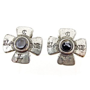 Chanel Silver Tone Hardware with Black Stone Earrings