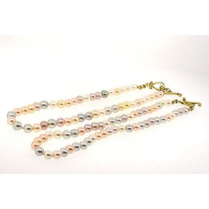 2 Robin Rotenier Pearl Strand Necklaces 18k Yellow Gold Toggle Clasp Multi Color