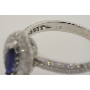 Diamond Halo Ring 18k White Gold Marquise Blue Sapphire Micro Pave 3/4ct  6.75