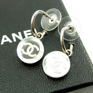 Chanel Coco Mark Silver Tone Hardware Piercing Earrings