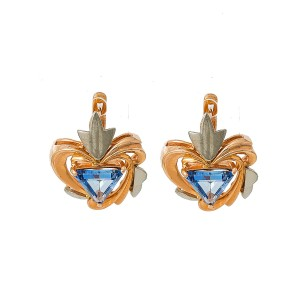 14K Rose Gold Two Tone 3.0 Ct Tanzanite French Back Earrings 7.4 Grams
