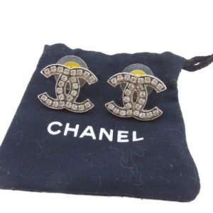 Chanel Silver Tone Hardware with Rhinestones Coco Piercing Earrings