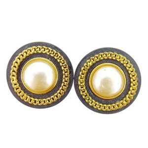 Chanel Gold Tone Hardware & Plastic with Simulated Glass Pearl Earrings