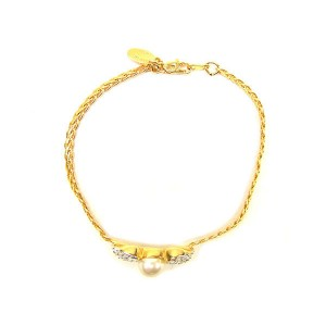 Valentino Gold Tone Hardware Rhinestone & Cultured Pearl Bangle Bracelet
