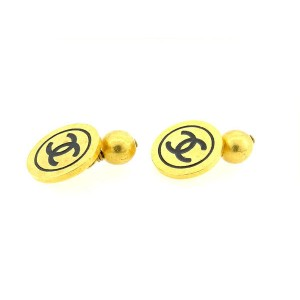 Chanel Coco Mark Gold Tone Hardware Cufflinks
