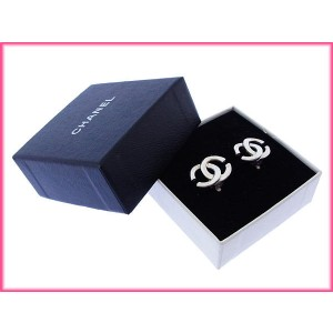 Chanel Coco Mark Silver Tone Hardware Earrings