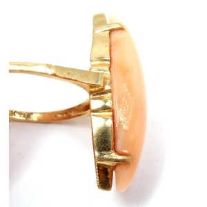 H. Stern 14K Yellow Gold with Pink Coral Vintage Ring Size 7.25