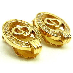 Christian Dior Gold Tone Hardware with Rhinestone Earrings
