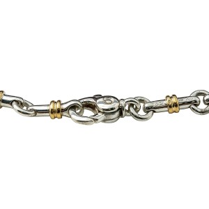 Tiffany & Co. 925 Sterling Silver & 18K Yellow Gold Bar Link Chain Necklace