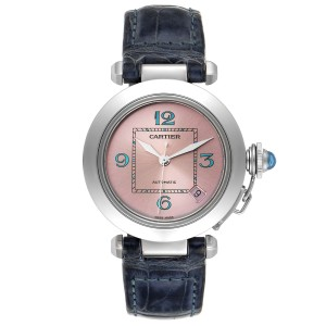 Cartier Pasha C Medium Pink Blue Dial Limited Edition Watch W3108199