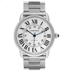 Cartier Ronde Solo XL Silver Dial Automatic Steel Mens Watch W6701011