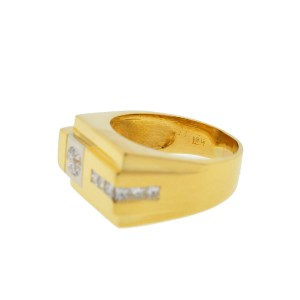 18k Yellow Gold Men's Diamond Band Ring .80 Cts
