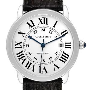Cartier Ronde Solo XL Silver Dial Black Strap Mens Watch W6701010