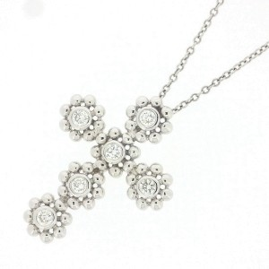 Tiffany & Co. 18K White Gold with Diamond Cross Necklace