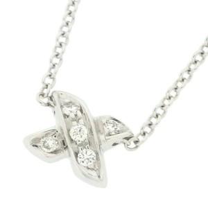 Tiffany & Co. Mini Signature 18K White Gold with Diamond Necklace
