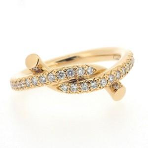 Cartier Entrelaces 18K Rose Gold Diamond Ring Size 4.25