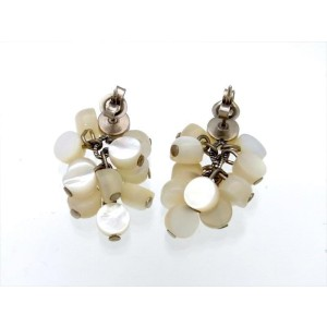 Chanel CC White Vintage Earrings