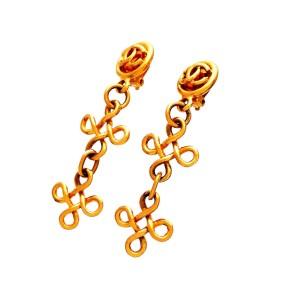 Chanel CC Gold Tone Vintage Earrings