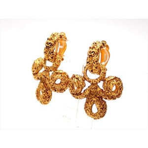 Chanel CC Gold Tone Vintage Earrings
