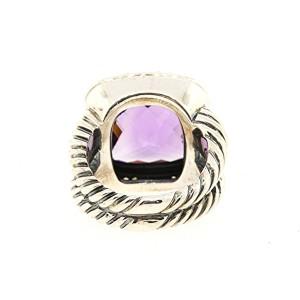 David Yurman Albion Sterling Silver Amethyst, Diamond Ring Size 6