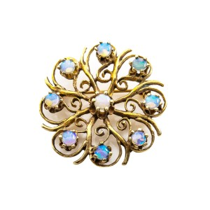 """Vintage 14K Yellow Gold Blue Fire Opals Pin Brooch 7.3 Grams 1.2"""""""