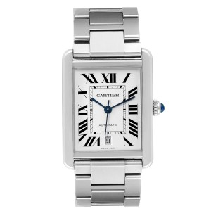 Cartier Tank Solo XL Silver Dial Automatic Steel Mens Watch W5200028